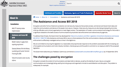 Aus Gov releases draft Assistance & Access Bill