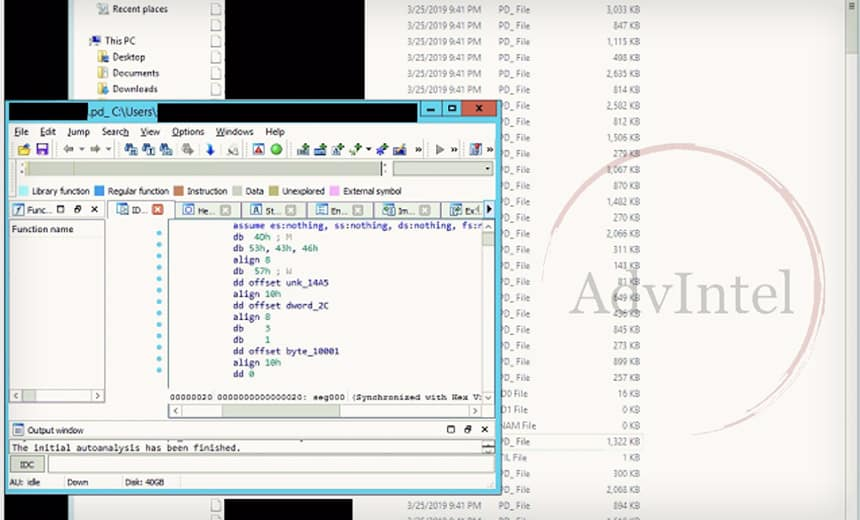 Screenshots posted by Fxmsp reveal the stolen source code stored in debug information. (Image: AdvIntel)